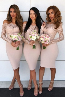 Knee Length Off the Shoulder Long Sleeves Lace Sexy Mermaid Bridesmaid Dresses  | Affordable Maid of Honor Dresses_3