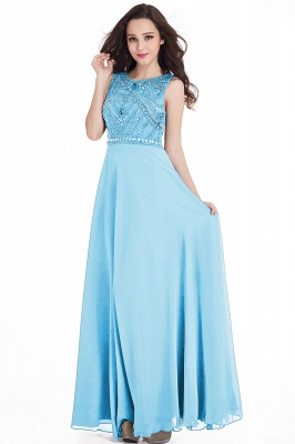 Sheath Jewel Crystals Floor Length Long Chiffon Cheap Prom Dresses_7