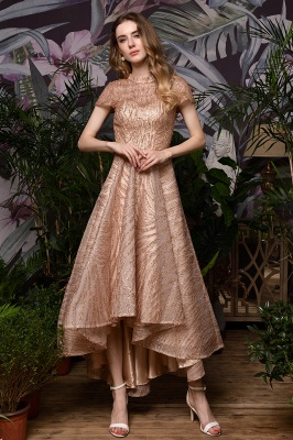 Champagne High Neck Short Sleeve Sequined A Line Prom Dress   Tea Length Ruffles Evening Gown_3