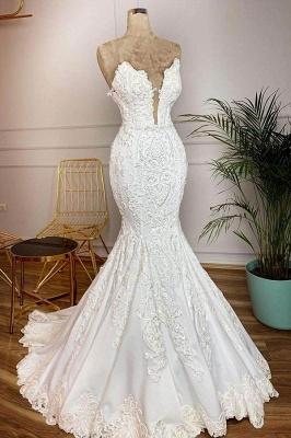 Straps V-neck Appliques Mermaid Lace Wedding Dresses   Trumpet Style Bridal Gowns_1