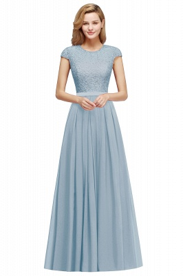 Cap Sleeves Floor Length Jewel Lace Chiffon Bridesmaid Dress | Cheap Prom Dresses_3