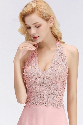 Cheap A-line Halter Chiffon Lace Bridesmaid Dress with Beadings in Stock_18