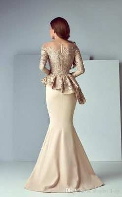 Elegant Jewel Floor Length Long Sleeves Peplum Champagne Prom Dresses_3