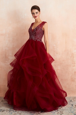 Sleeveless V-neck Sexy Long Tiered Beaded Prom Dresses | Elegant Organza Long Evening Dresses_6