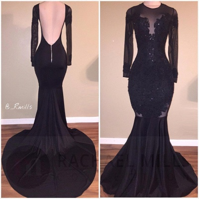 Long-Sleeves Backless Black Mermaid Appliques Sexy Prom Dress_3