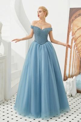 Off the Shoulder Sweetheart Jade A-line Long Prom Dresses | Elegant Evening Dresses_14