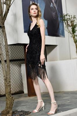 Black Straps V Neck Applique Lace Sequined Sheath Homecoming Dresses_6