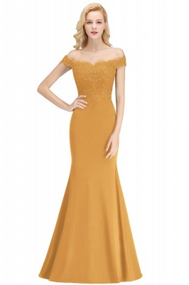Cheap Mermaid Off-the-shoulder Long Appliques Satin Bridesmaid Dress in Stock_9