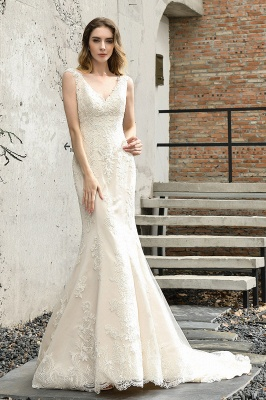 Cheap Long Lace Wedding Dresses Backless Floor Length Straps Online_1