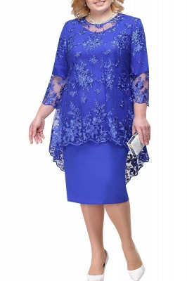 Tulle Lace 3/4 Sleeves Knee Length Mother of Bride Dress_3