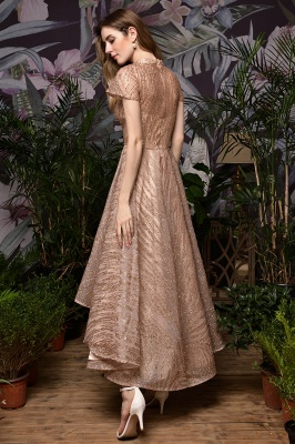 Champagne High Neck Short Sleeve Sequined A Line Prom Dress   Tea Length Ruffles Evening Gown_5