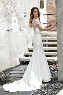 Gorgeous Off the Shoulder Affordable Ivory Mermaid Lace Wedding Dresses_8