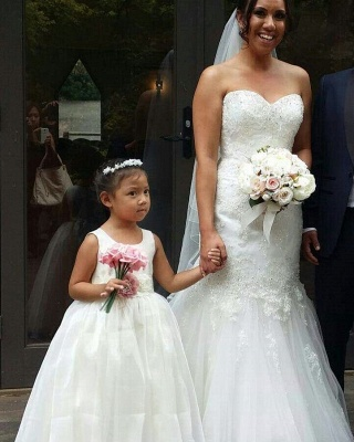 Simple Jewel Sleeveless Floor Length Lace Tulle Flower Girl Dresses_3