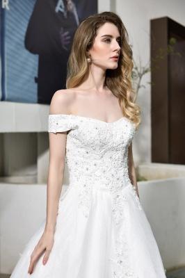 Gorgeous A-Line Lace Off Shoulder Floow Length Wedding Dresses_4
