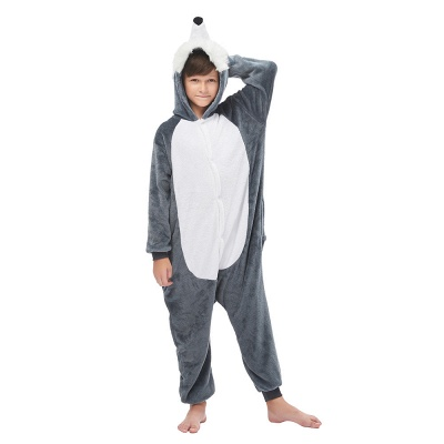 Cute Animal Pyjamas for Boys Huskie Onesie, Dark Grey_1