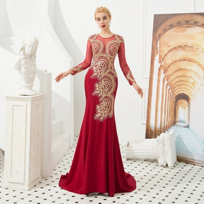 Gorgeous Form-fitting Long Sleeves Floor Length Prom Dresses | Long Beaded Evening Dresses_18