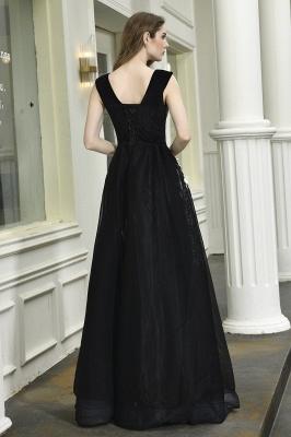 Black Straps Deep V neck A Line Prom Dresses | Applique Lace Corset Back Evening Dresses_4