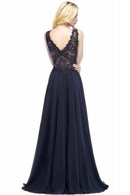 Straps V Neck  Applique Crystal Sequin Floor Length A Line Prom Dresses_56