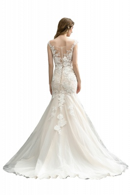 Gorgeous Floor Length  Lace Tulle Wedding Dresses Mermaid_9