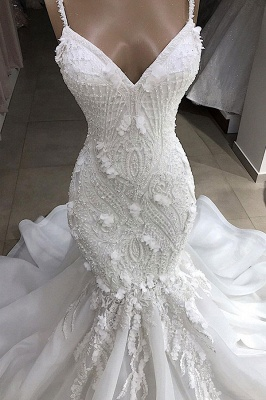 Spaghetti Straps Sweetheart Lace Mermaid Wedding Dresses | Fit and Flare Bridal Gowns_4