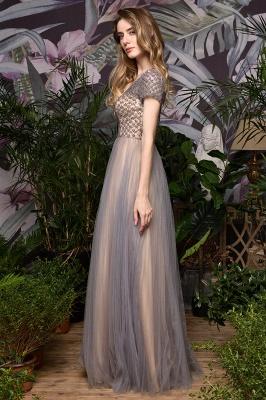 Elegant Short Sleeve Beading Floor Length a line prom dresses  Scaoop cheap graduation dress_10