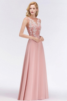 Cheap A-line Jewel Sleeveless Chiffon Tulle Lace Bridesmaid Dress in Stock_7