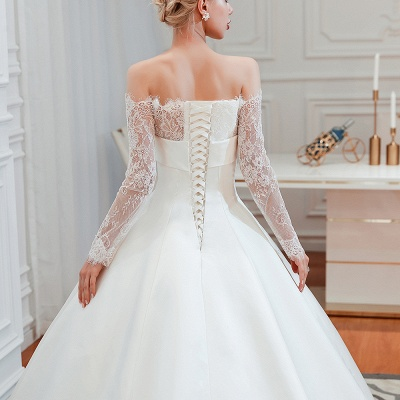 Off the Shoulder Long Sleeves Lace Up Floor Length A-line Lace Wedding Dresses_24