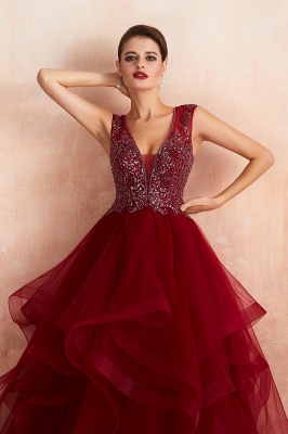 Sleeveless V-neck Sexy Long Tiered Beaded Prom Dresses | Elegant Organza Long Evening Dresses_9