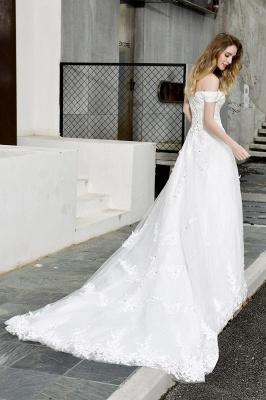 Gorgeous A-Line Lace Off Shoulder Floow Length Wedding Dresses_6