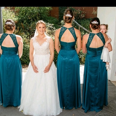 Jade Sleeveless Long Sexy Lace Bridesmaid Dresses | Simple Maid of Honor Dresses_2