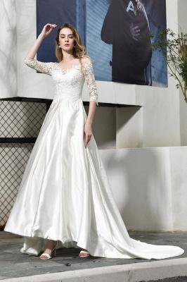 Glamorous 3/4 Sleeves Floor Length Length A-Line Lace Wedding Dresses_5