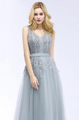 Stylish V-neck Tulle Lace Long Evening Dress_5