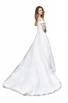 Cheap White Off the Shoulder Lace Beading Mermaid Wedding Gowns_3