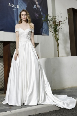 Cheap A Line Off the Shoulder Lace Satin White Wedding Gowns_10
