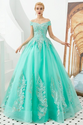 Glamorous Off the Shoulder Sweetheart Applique A-line Floor Length Prom Dresses_10