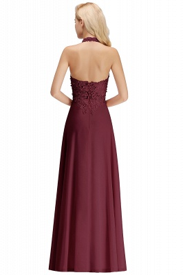 Cheap A-line Halter Chiffon Lace Bridesmaid Dress with Beadings in Stock_32