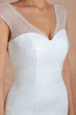 Floor Length V-neck Cap Sleeves Sexy Mermaid Wedding Dresses | Affordable Bridal Gown_11
