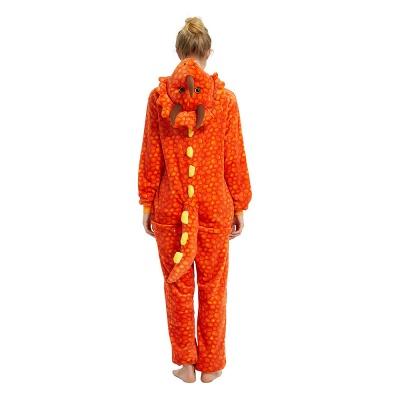 Adorable Adult Pyjamas for Women Triceratops Onesie, Orange_18