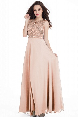 Sheath Jewel Crystals Floor Length Long Chiffon Cheap Prom Dresses_2