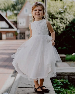 Jewel Sleeveless Tea Length Lace Tulle Flower Girl Dresses | Dress for Flower Girls_2