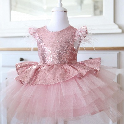 Lovely Hi-Lo Jewel Cap Sleeves Sequins Flower Girl Dresses with Bowknot_3