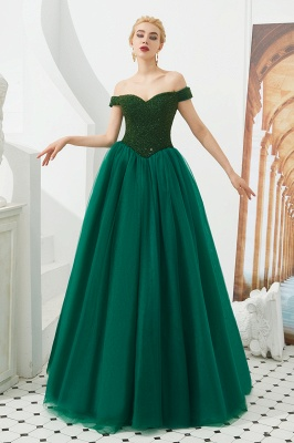 Off the Shoulder Sweetheart Jade A-line Long Prom Dresses | Elegant Evening Dresses Cheap_8