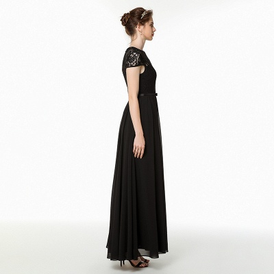 Jewel Short Sleeves Belted Floor Length Lace Chiffon Prom Dresses_3