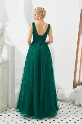 Gorgeous Straps V-neck A-line Long Prom Dresses | Jade Floor Length Evening Dresses_6
