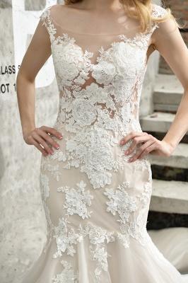 Gorgeous Floor Length  Lace Tulle Wedding Dresses Mermaid_12