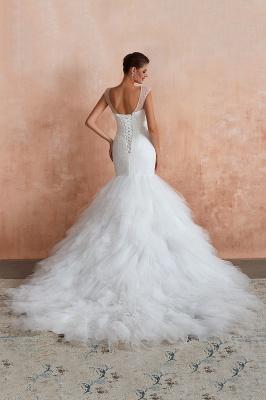 Floor Length V-neck Cap Sleeves Sexy Mermaid Wedding Dresses | Affordable Bridal Gown_8
