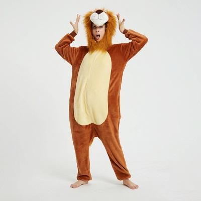 Cute Animal Pyjamas for Women Lion Onesies, Brown_13