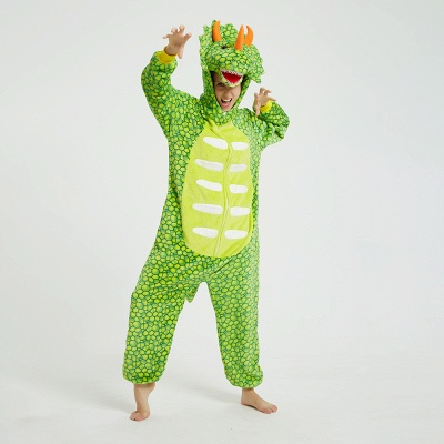 Cute Animal Pyjamas for Women Triceratops Onesie, Green_8