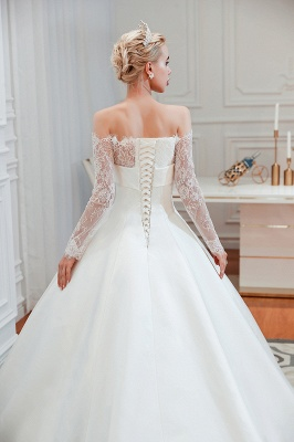 Off the Shoulder Long Sleeves Lace Up Floor Length A-line Lace Wedding Dresses_23