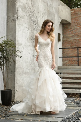Gorgeous Floor Length Tulle Appliques Mermaid Wedding Dress_7